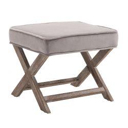 Ξύλινο Σκαμπό Υποπόδιο με Βελούδινο Κάθισμα 49.5 x 45 x 41 cm HOMCOM 833-589V01GY
