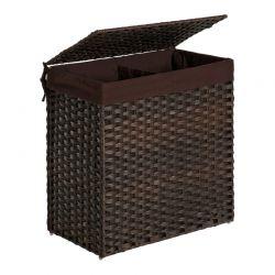 Καλάθι Απλύτων με 2 Χώρους από Συνθετικό Ρατάν 110 Lt Χρώματος Σκούρο Καφέ Songmics LCB52BR