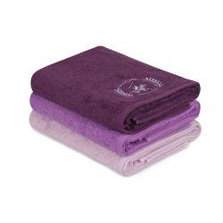Σετ με 3 Πετσέτες Μπάνιου 70 x 140 cm Χρώματος Λιλά - Μωβ - Σκούρο Μωβ Beverly Hills Polo Club 355BHP2460