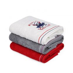 Σετ με 3 Πετσέτες Προσώπου 50 x 90 cm Χρώματος Λευκό - Κόκκινο - Γκρι Beverly Hills Polo Club 355BHP2258