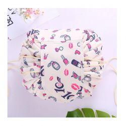 Αναδιπλούμενη Τσάντα Καλλυντικών με Κορδόνι Make Up Χρώματος Ροζ SPM DB4012