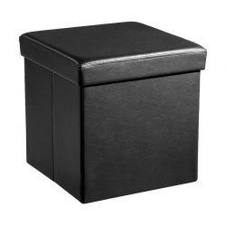 Πτυσσόμενο Σκαμπό με Αποθηκευτικό Χώρο 38 x 38 x 38 cm Χρώματος Μαύρο Songmics LSF101