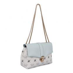 Γυναικεία Τσάντα Ώμου με Αλυσίδα Χρώματος Λευκό Beverly Hills Polo Club 623 657BHP0833