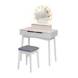 Ξύλινο Μπουντουάρ Με Καθρέπτη Φωτισμό και Σκαμπό 80 x 40 x 135.5 cm HOMCOM 831-313