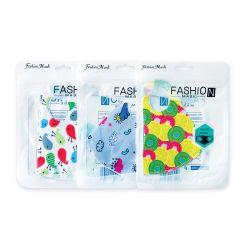 Παιδικές Επαναχρησιμοποιούμενες Μάσκες με Σχέδια Λευκό / Μπλε / Κίτρινο 3 τμχ FashionMask-3-P2