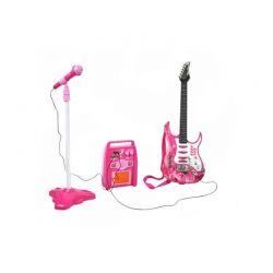 Σετ Παιδική Κιθάρα με Τρίποδο Μικρόφωνο και Ενισχυτή Χρώματος Ροζ SPM 4709