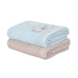 Σετ με 2 Πετσέτες Προσώπου 50 x 90 cm Χρώματος Γαλάζιο - Μπεζ Beverly Hills Polo Club 355BHP2293