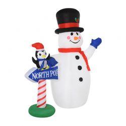 Φουσκωτός Χιονάνθρωπος 187 cm με LED Φωτισμό HOMCOM 844-294