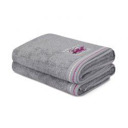 Σετ με 2 Πετσέτες Μπάνιου 70 x 140 cm Χρώματος Γκρι Beverly Hills Polo Club 355BHP2406