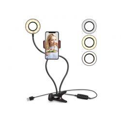 LED Φωτιστικό Δαχτυλίδι 6 ″ με Εύκαμπτο Βραχίονα και Βάση Κινητού Τηλεφώνου 77 cm GEM BN2279