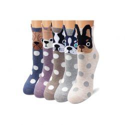 Σετ Γυναικείες Κάλτσες Πουά με Σχέδιο Σκύλος 5 Ζευγάρια 35-39 SPM DB6668