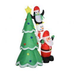 Φουσκωτό Χριστουγεννιάτικo Δέντρο 243 cm με LED Φωτισμό HOMCOM 844-301V70