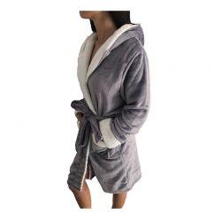 Γυναικεία Fleece Ρόμπα με Εσωτερική Επένδυση και Κουκούλα Χρώματος Λιλά SPM E9541-LPURPLE
