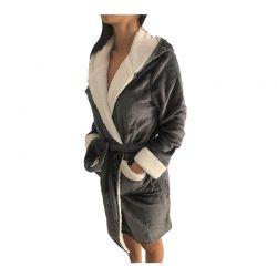 Γυναικεία Fleece Ρόμπα με Εσωτερική Επένδυση και Κουκούλα Χρώματος Σκούρο Γκρι SPM E9541-DGREY