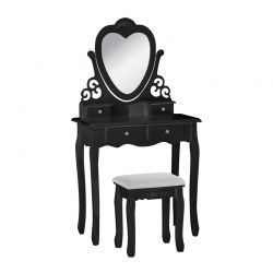 Ξύλινο Μπουντουάρ Με Καθρέπτη και Σκαμπό 75 x 40 x 146 cm Χρώματος Μαύρο Hoppline HOP1001147-2