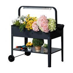 Τρόλεϊ για Φυτά και Λουλούδια με LED Φωτισμό και Κάλυμμα 90 x 51 x 100 cm Outsunny 845-395