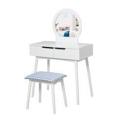 Ξύλινο Μπουντουάρ Με Καθρέπτη και Σκαμπό 80 x 40 x 125 cm Χρώματος Λευκό HOMCOM 831-335WT