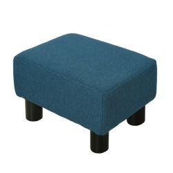 Ξύλινο Σκαμπό - Υποπόδιο με Υφασμάτινο Κάθισμα 40 x 30 x 24 cm Χρώματος Μπλε HOMCOM 833-666V70BU