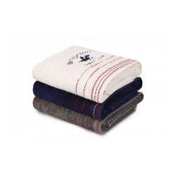 Σετ με 3 Πετσέτες Μπάνιου 70 x 140 cm Χρώματος Λευκό - Σκούρο Γκρι - Navy Beverly Hills Polo Club 355BHP2470