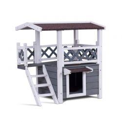 Ξύλινο Σπιτάκι για Κατοικίδια με 2 Επίπεδα Hoppline HOP1001125