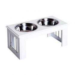 Σετ Ανοξείδωτα Μπολ Γεύματος με Ξύλινη Βάση για Κατοικίδια PawHut D08-016WT