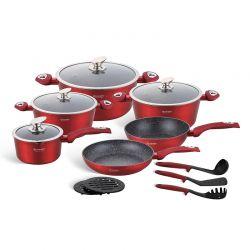 Σετ Μαγειρικών Σκευών με Αντικολλητική Κεραμική Μαρμάρινη Επίστρωση 15 τμχ Χρώματος Κόκκινο Edenberg EB-5612