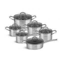 Σετ Μαγειρικών Σκευών από Ανοξείδωτο Ατσάλι 18/10 με Γυάλινα Καπάκια 12 τμχ Edenberg EB-7701