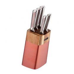 Σετ Μαχαίρια με Ξύλινη Βάση 6 τμχ Χρώματος Ροζ - Χρυσό Edenberg EB-924