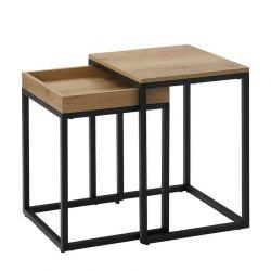 Σετ Μεταλλικά Βοηθητικά Τραπέζια Nesting 40 x 45 x 55 cm 2 τμχ VASAGLE LNT02N