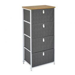 Μεταλλική Συρταριέρα με 4 Υφασμάτινα Συρτάρια 45 x 30 x 93 cm Home Deco Factory HD7173