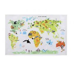 Αυτοκόλλητος Παιδικός Επιτοίχιος Παγκόσμιος Χάρτης 90 x 60 cm Ocean Home Deco Kids HD2375