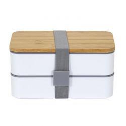 Φαγητοδοχείο - Lunch Box 2 Επιπέδων με Μαχαιροπίρουνα και Καπάκι από Μπαμπού 18.5 x 10.5 x 9.7 cm Cook Concept KA4820