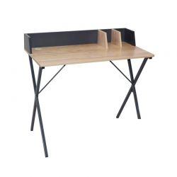 Μεταλλικό Γραφείο με Ξύλινη Επιφάνεια 90 x 50 x 84 cm Χρώματος Γκρι Home Deco Factory HD6424