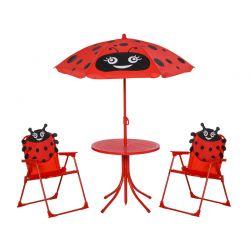 Σετ Παιδικό Σαλόνι Κήπου με Τραπέζι 2 Καρέκλες και Ομπρέλα Πασχαλίτσα 4 τμχ Outsunny 312-024RD