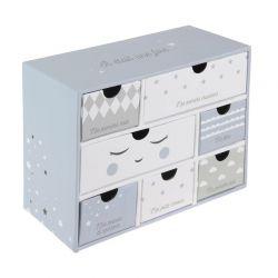 Χάρτινο Παιδικό Κουτί Αποθήκευσης με 7 Συρτάρια 19.3 x 9 x 15 cm Χρώματος Μπλε Tom & Zoe PU1031