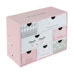 Χάρτινο Παιδικό Κουτί Αποθήκευσης με 7 Συρτάρια 19.3 x 9 x 15 cm Χρώματος Ροζ Tom & Zoe PU1031