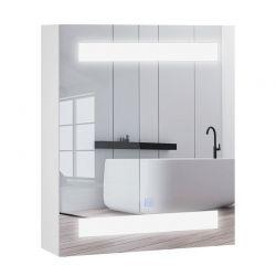 Καθρέπτης Μπάνιου με Ντουλάπι και LED Φωτισμό 60 x 50 x 15 cm HOMCOM 834-037WT