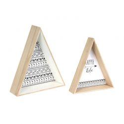 Σετ Ξύλινα Τρίγωνα Διακοσμητικά 44 x 38 x 11 cm 2 τμχ Home Deco Factory HD4556