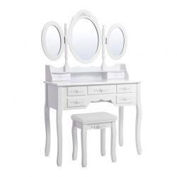 Ξύλινο Μπουντουάρ με Καθρέπτη και Σκαμπό 90 x 40 x 145 cm Songmics RDT91W