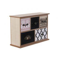 Ξύλινο Κουτί Αποθήκευσης με 5 Συρτάρια 24 x 16 x 8 cm Home Deco Factory HD2138