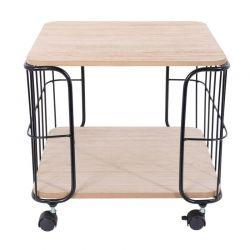 Μεταλλικό Τροχήλατο Τετράγωνο Τραπέζι Σαλονιού 38 x 38 x 33 cm Home Deco Factory HD6141