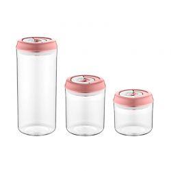 Σετ Πλαστικά Αεροστεγή Δοχεία Τροφίμων 3 τμχ Χρώματος Ροζ Herzberg HG-CK785-Pink