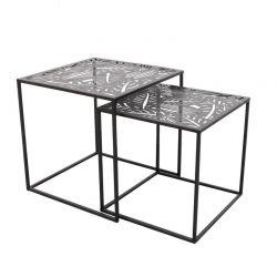 Σετ Μεταλλικά Βοηθητικά Τραπέζια Nesting 40 x 40 x 40 cm 2 τμχ Home Deco Factory HD6580