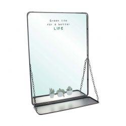 Μεταλλικός Καθρέπτης Τοίχου με 1 Ράφι 35 x 14 x 50 cm Home Deco Factory HD2025