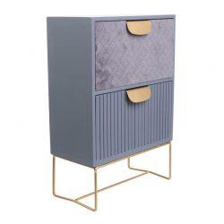 Ξύλινο Βελούδινο Κουτί Αποθήκευσης με 2 Συρτάρια 29.5 x 20 x 10 cm Home Deco Factory HD2220