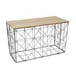Πτυσσόμενο Μεταλλικό Ορθογώνιο Τραπέζι Σαλονιού 80 x 40 x 46 cm Χρώματος Γκρι Home Deco Factory HD7208