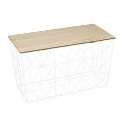 Πτυσσόμενο Μεταλλικό Ορθογώνιο Τραπέζι Σαλονιού 80 x 40 x 46 cm Χρώματος Λευκό Home Deco Factory HD7207