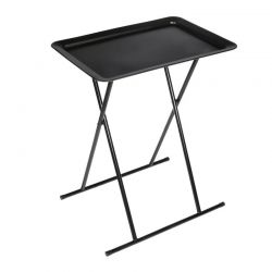 Πτυσσόμενο Βοηθητικό Μεταλλικό Ορθογώνιο Τραπέζι 52 x 37 x 66 cm Χρώματος Μαύρο Home Deco Factory HD6610