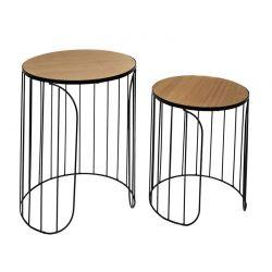 Σετ Βοηθητικά Μεταλλικά Στρογγυλά Τραπέζια Nesting 40 x 40 x 40 cm 2 τμχ Home Deco Factory HD7204