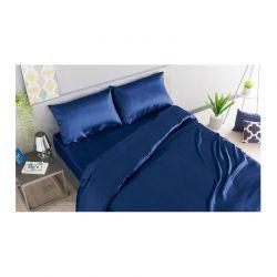 Σετ Παπλωματοθήκη με Μαξιλαροθήκες και Σεντόνι Σατέν 260 x 220 + 30 cm King Size Χρώματος Μπλε SPM 30101032